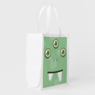 Green Monster Face Reusable Shopping Bag Market Totes