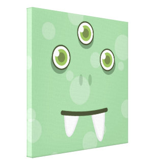 Green Monster Face Wrapped Canvas Stretched Canvas Prints