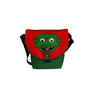 Green Monster Head Mini Messenger Bag