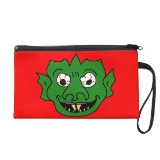 Green Monster Head Wristlet Purse