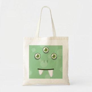 Green Monster Kawaii Face Tote Bag