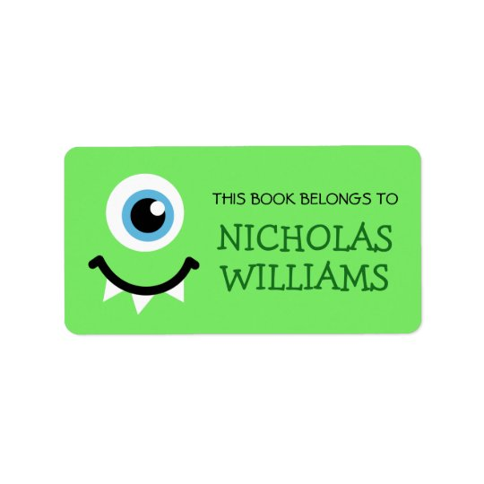 Green monster kids bookplate book label