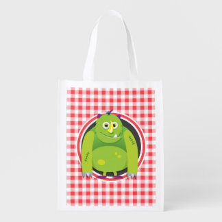 Green Monster on Red and White Gingham Reusable Grocery Bag