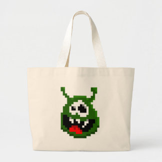 Green Monster - Pixel Art Large Tote Bag
