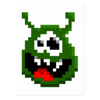 Green Monster - Pixel Art Postcard