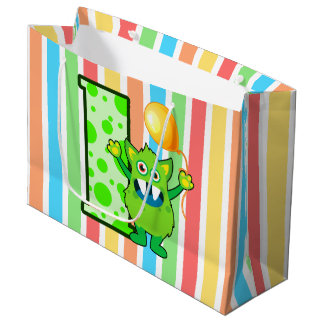 Green Monster Stripe Large Gift Bag