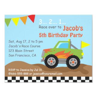 Green Monster Truck Birthday Party 11 Cm X 14 Cm Invitation Card