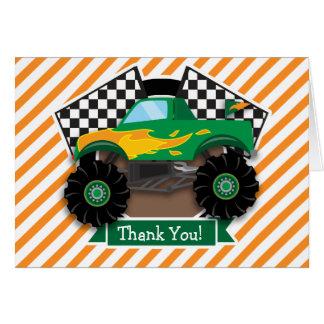 Green Monster Truck, Checkered Flag; Orange Stripe Cards