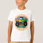 Green Monster Truck, Chequered Flag; Orange Stripe T-Shirt