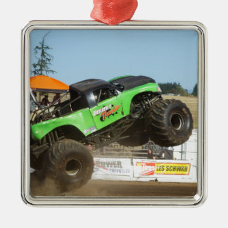 Green Monster Truck In Action Metal Ornament