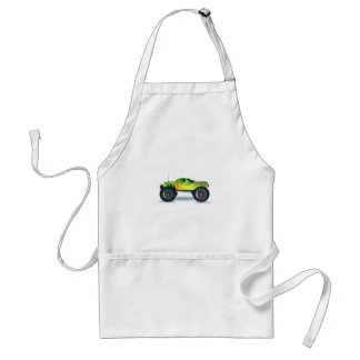 Green Monster Truck with Flames Painted On Side Aprons