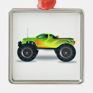 Green Monster Truck with Flames Painted On Side Metal Ornament