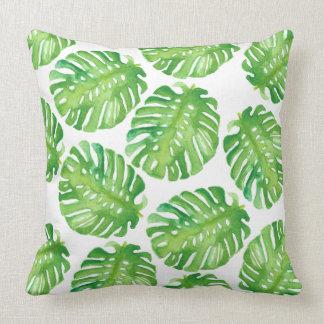 Green Monstera Jungle Leaf Pillow