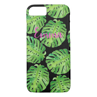 Green monstera jungle personalized phone case