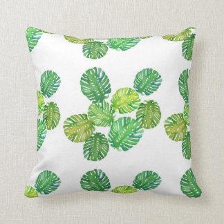 Green monstera jungle pillow
