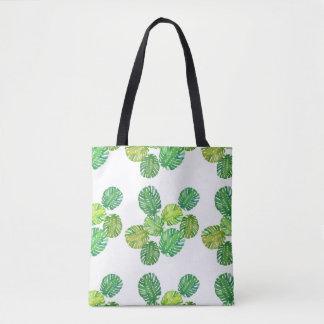 Green Monstera Jungle Tote Bag