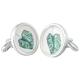 Green monstera leaf palm tropical cufflinks