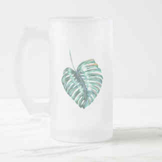 Green monstera leaf palm tropical frosted glass beer mug