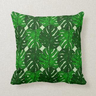 Green Monstera Leaf Throw Pillow