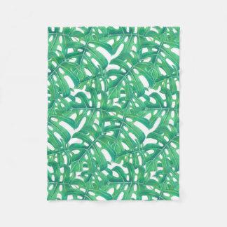 Green monstera tropical leaves pattern fleece blanket