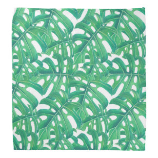 Green monstera tropical leaves pattern  on white b bandana