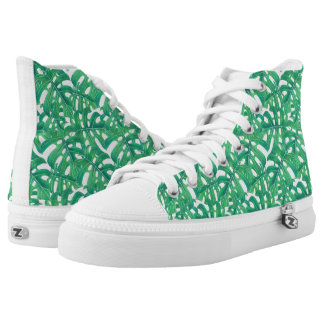 Green monstera tropical leaves pattern  on white b printed shoes
