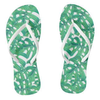Green monstera tropical leaves pattern  on white b thongs
