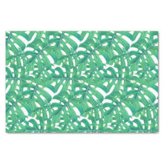 Green monstera tropical leaves pattern  on white b tissue paper
