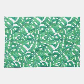 Green monstera tropical leaves pattern tea towel