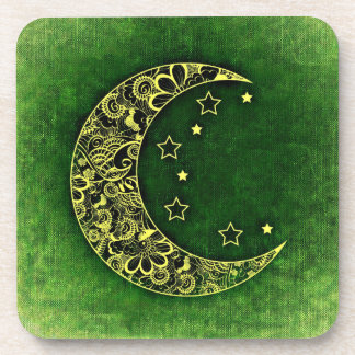 Green Moon and Stars Drink Coaster