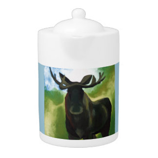 Green moose Tea pot