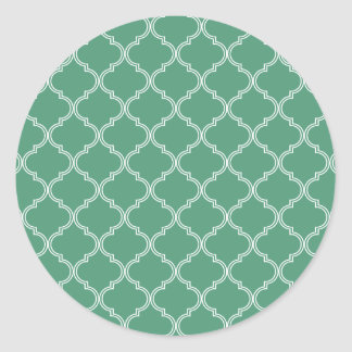 Green Moroccan Pattern Classic Round Sticker