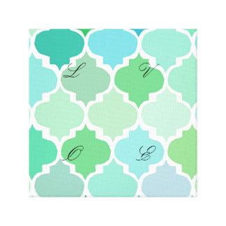 green, moroccan,quatrefoil,pattern,chic,girly,fun, canvas prints