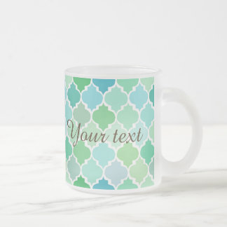 green, moroccan,quatrefoil,pattern,chic,girly,fun, frosted glass mug