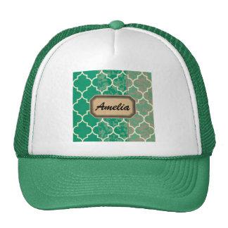 green,moroccan,quatrefoil,trendy,elegant,pattern, cap