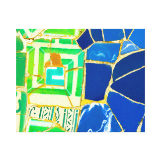 Green Mosaic Parc Guell Tiles in Barcelona Spain Canvas Print