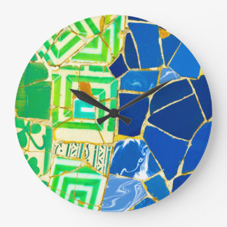 Green Mosaic Parc Guell Tiles in Barcelona Spain Large Clock