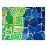Green Mosaic Parc Guell Tiles in Barcelona Spain Poster