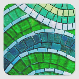 Green Mosaic Tiles Square Sticker