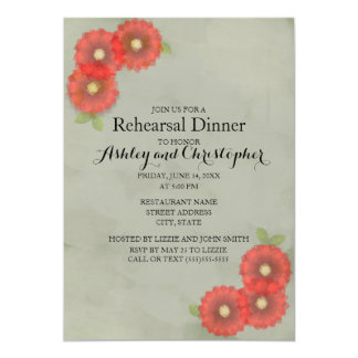 Green Moss and Red Watercolor Flowers Rehearsal Card