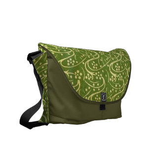 Green Moss Floral Messenger Bag