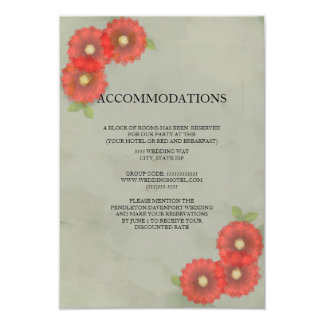 Green Moss Red Watercolor Flowers  Accommodations Card
