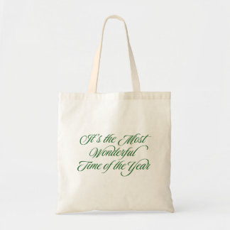 Green Most Wonderful Time Holiday Gift Bag