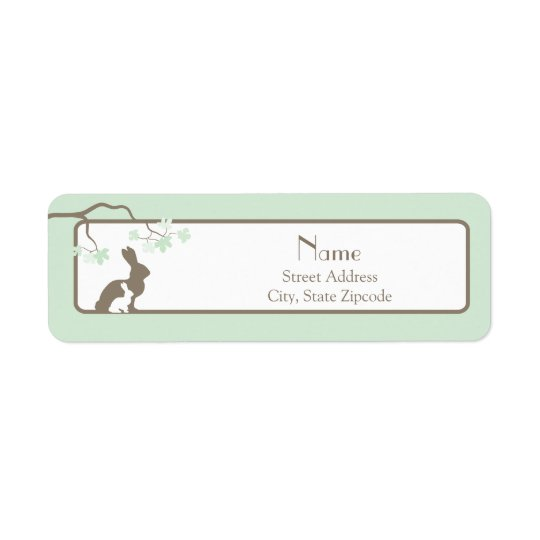 Green Mother and Baby Bunny Address Label