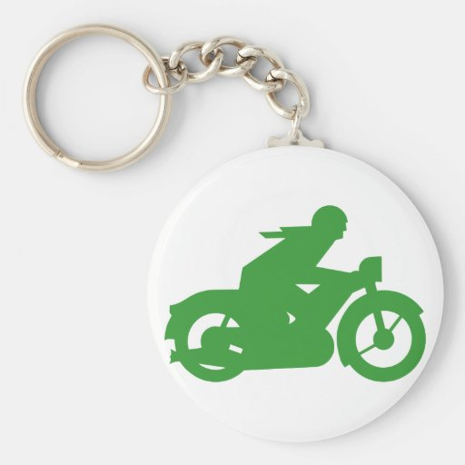 Green Motorbiker Sign Basic Round Button Key Ring