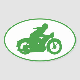 Green Motorbiker Sign Oval Sticker