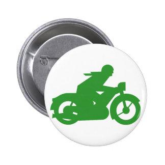 Green Motorbiker Sign Pinback Buttons