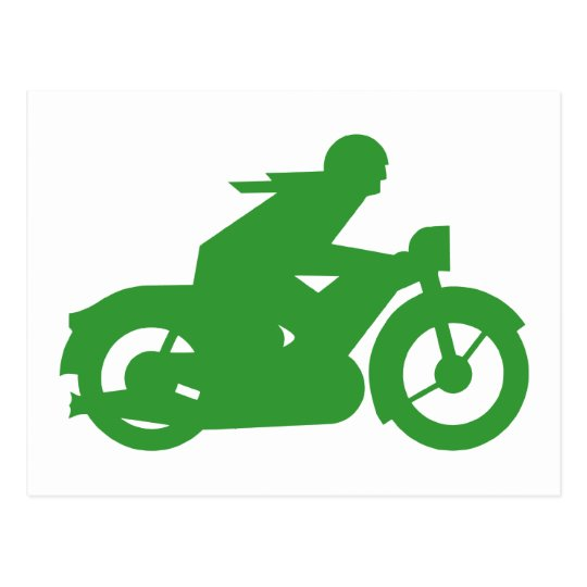 Green Motorbiker Sign Postcard