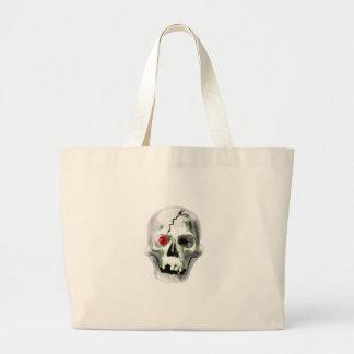green mould on skull large tote bag