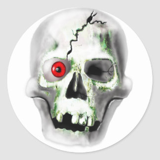green mould on skull round sticker